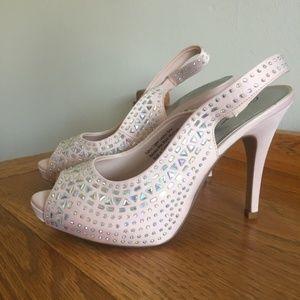 NEW Blush Jeweled Heels (never worn)